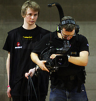 A Sky cameraman films the match during the International women's basketball match between NZ Tall Ferns and Australian Opals at Te Rauparaha Stadium, Porirua, Wellington, New Zealand on Monday 31 August 2009. Photo: Dave Lintott / lintottphoto.co.nz