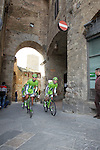 Cannondale team riders head to sign on in San Gimignano before the start of the 2014 Strade Bianche race over the white dusty gravel roads of Tuscany, Italy. 8th March 2014.<br /> Picture: Eoin Clarke www.newsfile.ie