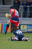 24th March 2018, AJ Bell Stadium, Salford, England; Aviva Premiership rugby, Sale Sharks versus Worcester Warriors; Marland Yarde of Sale Sharks tackles Bryce Heem of Worcester Warriors