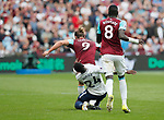 Tottenham's Serge Aurier gets sent off for this tackle on West Ham's Andy Carroll during the premier league match at the London Stadium, London. Picture date 23rd September 2017. Picture credit should read: David Klein/Sportimage