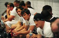 Jun. 13, 2009; Las Vegas, NV, USA; Ken Dorsey (center) sits in the lockerroom  prior to the United Football League workout at Sam Boyd Stadium. Mandatory Credit: Mark J. Rebilas-