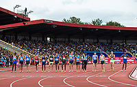 The competitors line up for the Emsley Carr Mile during the Muller Grand Prix Birmingham Athletics at Alexandra Stadium, Birmingham, England on 20 August 2017. Photo by Andy Rowland.