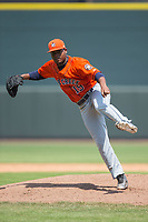 Buies Creek Astros starting pitcher Framber Valdez (19) follows through on his delivery against the Winston-Salem Dash at BB&T Ballpark on April 16, 2017 in Winston-Salem, North Carolina.  The Dash defeated the Astros 6-2.  (Brian Westerholt/Four Seam Images)