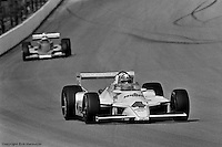 INDIANAPOLIS, IN: Johnny Rutherford drives the Chaparral 2K/Cosworth during practice for the Indianapolis 500 on May 25, 1980, at the Indianapolis Motor Speedway.