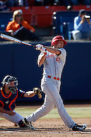 Austin Darby #41 of the Nebraska Cornhuskers bats against the Cal State Fullerton Titans at Goodwin Field on February 16, 2013 in Fullerton, California. Cal State Fullerton defeated Nebraska 10-5. (Larry Goren/Four Seam Images)