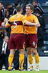 Motherwell v St Johnstone.....16.04.11  Scottish Cup Semi-Final.Maurice Ross celebrates with Stephen Craigan at full time.Picture by Graeme Hart..Copyright Perthshire Picture Agency.Tel: 01738 623350  Mobile: 07990 594431
