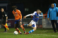 Rhys Norrington-Davies of Barrow is sent flying during Braintree Town vs Barrow, Vanarama National League Football at the IronmongeryDirect Stadium on 1st December 2018