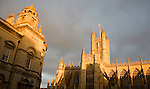 Guildhall and Abbey in dramatic evening light, Bath