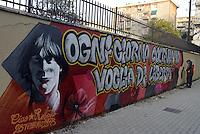 Roma, 28 Febbraio 2013.Cinecittà.Murales per ricordare Roberto Scialabba, giovane del quartiere ucciso dai fascisti il 28 Febbraio 1978.