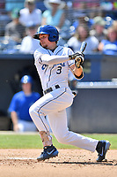 Asheville Tourists Kyle Datres (3) swings at a pitch during a game against the Charleston RiverDogs at McCormick Field on August 18, 2019 in Asheville, North Carolina. The Tourists defeated the RiverDogs 6-5. (Tony Farlow/Four Seam Images)