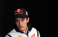 Honda MotoGP rider Marc Marquez of Spain arrives to the official press conference ahead of the Australian Grand Prix in Phillip Island near Melbourne October 17, 2013. IMAGE RESTRICTED TO EDITORIAL USE ONLY- STRICTLY NO COMMERCIAL USE. Photo by Daniel Munoz/VIEWpress