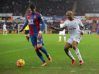 (L-R) Joel Ward of Crystal Palace against Andre Ayew of Swansea during the Barclays Premier League match between Swansea City and Crystal Palace at the Liberty Stadium, Swansea on February 06 2016