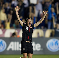 Heather O'Reilly (9) of the USWNT celebrates her goal during the game at WakeMed Soccer Park in Cary, NC.   The USWNT defeated Japan, 2-0..