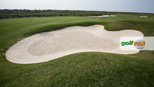 View of the right-side fairway bunker on the 7th at Al Zorah Golf Club, Dubai, United Arab Emirates.  26/01/2016. Picture: Golffile | David Lloyd<br /> <br /> All photos usage must carry mandatory copyright credit (&copy; Golffile | David Lloyd)