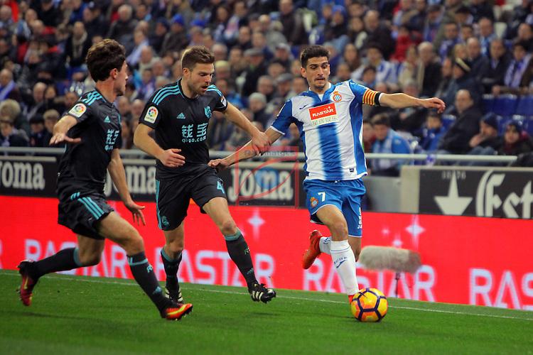 League Santander 2016/2017. Game: 22.<br /> RCD Espanyol vs Real Sociedad: 1-2.<br /> Illarra vs Gerard Moreno.