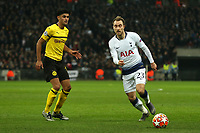 Christian Eriksen of Tottenham Hotspur and Mahmoud Dahoud of Borussia Dortmund during Tottenham Hotspur vs Borussia Dortmund, UEFA Champions League Football at Wembley Stadium on 13th February 2019