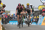 Geraint Thomas (WAL) Team Ineos, Steven Kruijswijk (NED) Team Jumbo-Visma and World Champion Alejandro Valverde (ESP) Movistar Team cross the finish line on Prat d'Albis at the end of Stage 15 of the 2019 Tour de France running 185km from Limoux to Foix Prat d'Albis, France. 20th July 2019.<br /> Picture: Colin Flockton | Cyclefile<br /> All photos usage must carry mandatory copyright credit (© Cyclefile | Colin Flockton)