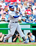 25 April 2010: Los Angeles Dodgers' infielder Ronnie Belliard at bat against the Washington Nationals at Nationals Park in Washington, DC. The Nationals shut out the Dodgers 1-0 to take the rubber match of their 3-game series. Mandatory Credit: Ed Wolfstein Photo