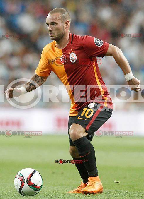 Galatasaray's Wesley Sneijder during XXXVI Santiago Bernabeu Trophy. August 18,2015. (ALTERPHOTOS/Acero)