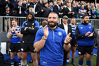 Jameson Mola of Bath Rugby celebrates from the sidelines. Gallagher Premiership match, between Bath Rugby and Wasps on May 5, 2019 at the Recreation Ground in Bath, England. Photo by: Patrick Khachfe / Onside Images