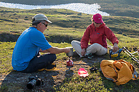 Cooking a camp meal in the Chugach National Forest, Kenai Peninsula, Alaska.