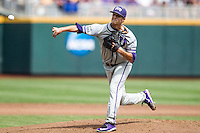 TCU Horned Frogs pitcher Preston Morrison (18) delivers a pitch to the plate against the LSU Tigers in the NCAA College World Series on June 14, 2015 at TD Ameritrade Park in Omaha, Nebraska. TCU defeated LSU 10-3. (Andrew Woolley/Four Seam Images)