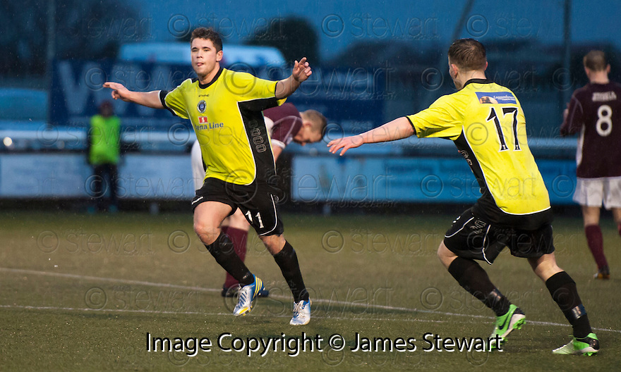 Stranraer's Andrew Stirling (11) celebrates after he scores their goal.