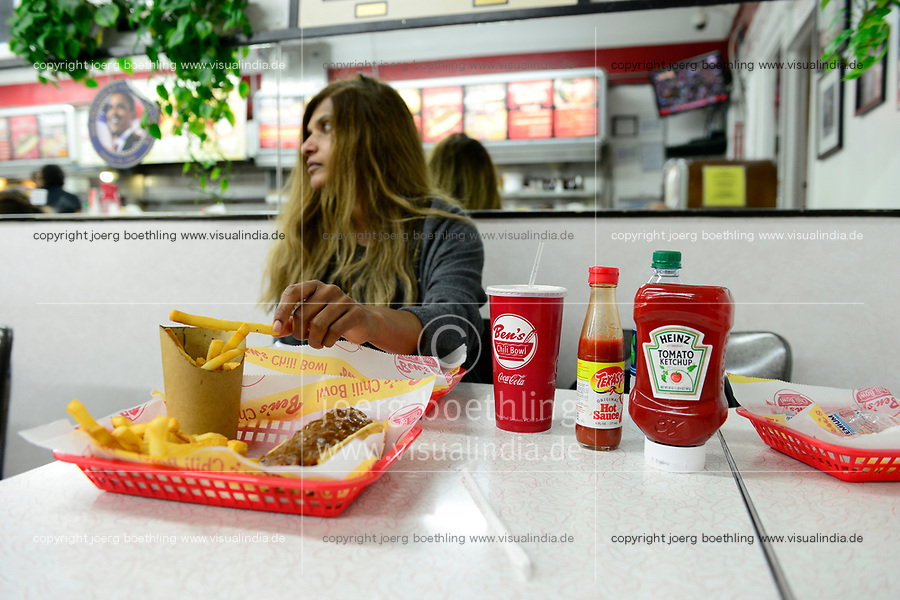USA, Washington DC, famous fast food restaurant Ben´s Chili Bowl at Shaw neighborhood, fastfood meal chili smokes, french fries, Coca Cola, Ketchup