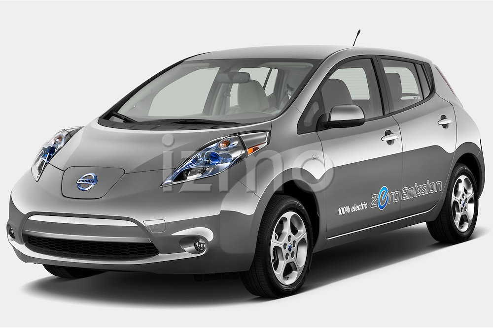 Front three quarter view of a 2012 Nissan Leaf SL.