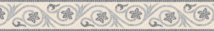 """6"""" Countess border, a hand-cut stone mosaic, shown in polished Bardiglio, Celeste, and honed Ivory Cream."""