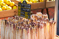street market chalk board white asparagus tain l hermitage rhone france
