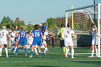 Allston, MA - Sunday, May 22, 2016: Boston Breakers defender Whitney Engen (4) heads the ball past FC Kansas City goalkeeper Nicole Barnhart (18) for a goal during a regular season National Women's Soccer League (NWSL) match at Jordan Field.