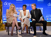 LOS ANGELES, USA. December 09, 2019: Dakota Fanning, Susan Kelechi Watson & Tim Allen at the nominations announcement for the 77th Golden Globe Awards at the Beverly Hilton Hotel.<br /> Picture: Paul Smith/Featureflash