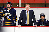 Jeremy Langlois (Quinnipiac - 17), Rand Pecknold (Quinnipiac - Head Coach), Loren Barron (Quinnipiac - 4) - The Harvard University Crimson and Quinnipiac University Bobcats played to a 2-2 tie on Saturday, November 5, 2011, at Bright Hockey Center in Cambridge, Massachusetts.