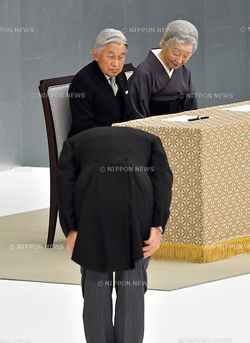 August 15, 2016, Tokyo, Japan - Emperor Akihito, accompanied by Empress Michiko, attends a government-sponsored memorial ceremony at the Nippon Budokan hall in Tokyo on Monday, August 15, 2016. About 5600 bereaved families participated in the ceremony to pay homage to more than 3 million war dead as Japan observed the 71st anniversary of the end of World War II. (Photo by Natsuki Sakai/AFLO) AYF -mis-