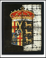 Silk coat of arms from Cromwell's coffin.