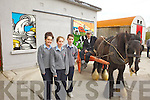 Joanne McDermot, Caoimhe Geoghegan and Denis Sheahan students from Tarbert Comprensive school who designed, made and mounted murals, which were launched at the old creamery in Tarbert on Friday.