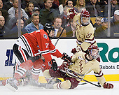 Anthony Bitetto (Northeastern - 7), Destry Straight (BC - 17), Quinn Smith (BC - 27) - The Boston College Eagles defeated the Northeastern University Huskies 7-1 in the opening round of the 2012 Beanpot on Monday, February 6, 2012, at TD Garden in Boston, Massachusetts.