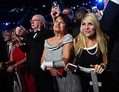 Supporters watch United States President Donald Trump and First Lady Melania Trump at the Freedom Ball on January 20, 2017 in Washington, D.C. Trump will attend a series of balls to cap his Inauguration day.      <br /> Credit: Kevin Dietsch / Pool via CNP