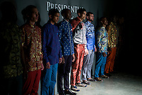 CAPE TOWN, SOUTH AFRICA JULY 2: Models walking for the designer label Presidential Shirt during a show at South Africa Menswear week 2015 on July 2, 2015 in Cape Town, South Africa. The second edition of SAMW featured designers from South Africa and around Africa showing spring and summer collections during the 3-day event. The label was founded in 1994 when President Nelson Mandela started wearing the Madiba shirt and it became a fashion. (Photo by Per-Anders Pettersson)