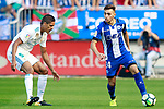 Deportivo Alaves' Munir El Haddadi (r) and Real Madrid's Raphael Varane during La Liga match. September 23,2017. (ALTERPHOTOS/Acero)