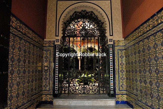 A tiled doorway in Seville, Spain.
