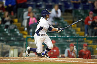 Pitt Panthers catcher Manny Pazos (43) at bat during a game against the Ohio State Buckeyes on February 20, 2016 at Holman Stadium at Historic Dodgertown in Vero Beach, Florida.  Ohio State defeated Pitt 11-8 in thirteen innings.  (Mike Janes/Four Seam Images)