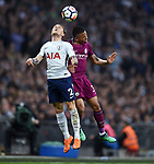 Kieran Trippier of Tottenham Hotspur is challenged by Gabriel Jesus of Manchester City during the premier league match at the Wembley Stadium, London. Picture date 14th April 2018. Picture credit should read: Robin Parker/Sportimage