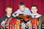 Talented musicians Seamus Lane Brosna, Darragh Curtin Brosna and Bryan O'Leary Gneeveguilla at the The History of Ireland through music concert in the Ivyleaf theatre, Castleisland as part of the East Kerry Roots festival on Sunday night..