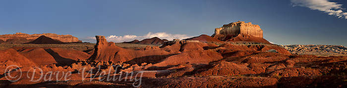 920950001 sunrise on the goblin formations and wild horse butte in this panoramic view of goblin valley state park utah united states