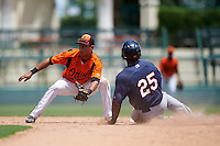 GCL Orioles shortstop Irving Ortega (1) waits for a throw as Akil Baddoo (25) slides into second base during a game against the GCL Twins on August 11, 2016 at the Ed Smith Stadium in Sarasota, Florida.  GCL Twins defeated GCL Orioles 4-3.  (Mike Janes/Four Seam Images)