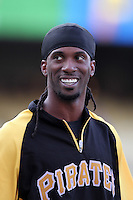 Pittsburgh Pirates outfielder Andrew McCutchen #22 before a game against the Los Angeles Dodgers at Dodger Stadium on September 17, 2011 in Los Angeles,California. Los Angeles defeated Pittsburgh 6-1.(Larry Goren/Four Seam Images)