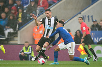 Fabian Schar of Newcastle United & Ayoze Perez of Leicester City during the Premier League match between Leicester City and Newcastle United at the King Power Stadium, Leicester, England on 29 September 2019. Photo by Andy Rowland.