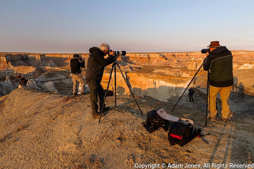 Workshop clients at sunrise, Coal Mine Canyon, near Tuba City, Arizona